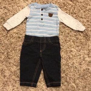 Carters baby boy blue/grey longsleeve & jeans